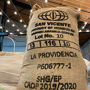 Honduran beans arriving at Square One Coffee.